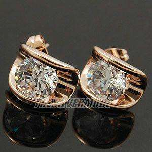 18K Rose Gold Plated Clear CZ Earring Studs 10977