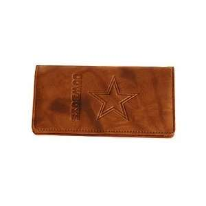 Dallas Cowboys Brown Embossed Leather Checkbook Cover