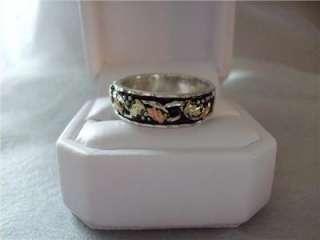 Black Hills Gold Antiqued Sterling Silver Band Ring