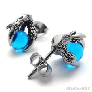 Blue Silver Tone Stainless Steel Dragon claw Mens Studs Earrings