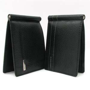 New Genuine Leather Mens Bifold Money Clip Wallet Slim Black