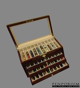 40 PEN CASE WOOD W LOCKING GLASS TOP DISPLAY BURGUNDY