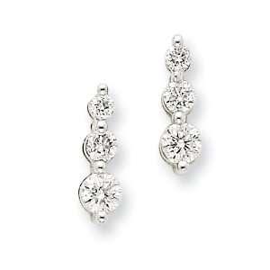 14k Gold Three Stone Diamond Post Earrings Jewelry