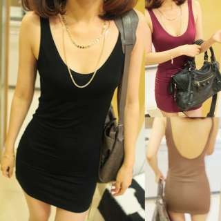 Crewneck Backless Sleeveless Backing Shirt Tank Tops Dress #D119