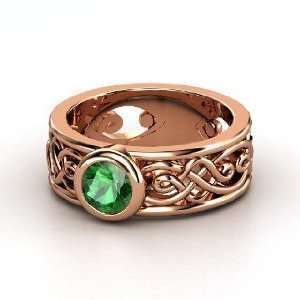 Alhambra Ring, Round Emerald 14K Rose Gold Ring Jewelry