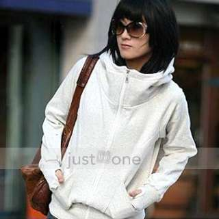 Women Lady Girls Casual Fleece Hoodie Jacket Zip Cardigan Short Coat