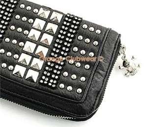 Rhinestone Leather Gothic Punk Clutch Wallet Accessory Purse