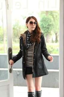 New Fashion Women Faux Fur Winter Warm Hood Long Jacket Coat 2 Colors