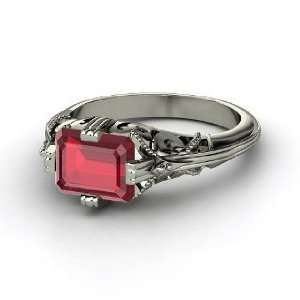 Acadia Ring, Emerald Cut Ruby Palladium Ring Jewelry