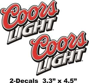 COORS LIGHT Logo Vinyl Decal Window Sticker Set Of 2