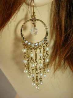 Antique Gold French Wire Chandelier Earrings USA