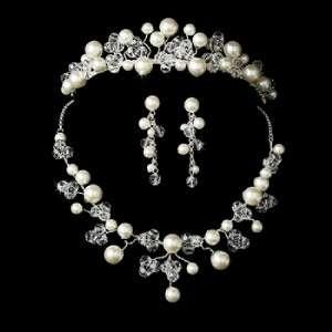 Pearl & Austrian Crystal Bridal Jewelry Set & Tiara