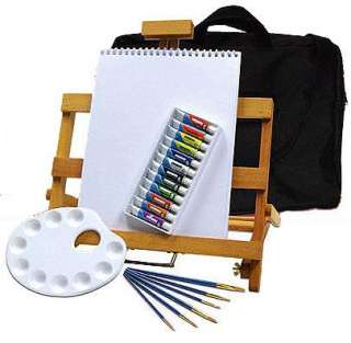 WATERCOLOR PAINTING TABLE EASEL ART SET w/PAINT, BRUSHES, STORAGE BAG