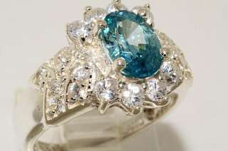 30CT OVAL CUT BLUE ZIRCON & WHITE TOPAZ RING SIZE 6.25