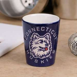 Connecticut Huskies (UConn) Navy Blue Black Classic Ceramic Shot Glass