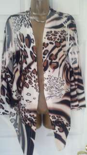 NWT CACHE GORGEOUS Leopard Animal Print Wrap Sweater Jacket M $98