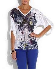 White (White) Firetrap White Marianne Garden Print T Shirt  248640610