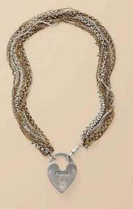 85 FOSSIL BRAND Multi Chain Heart Lock Pendant Necklace ~ NWT