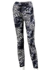 WOMENS SNOW LEOPARD AND PATTERN ANIMAL PRINT LEGGINGS