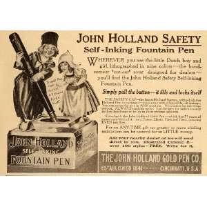 Fountain Pen Ink Dutch Boy Girl   Original Print Ad