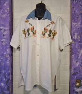 White Cotton Southwest Embroidered Shirt ~ PASSION ~ Size M