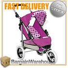DOLLS DELUXE 3 WHEELER PRAM PUSH CHAIRE POLKA DOTTED (P