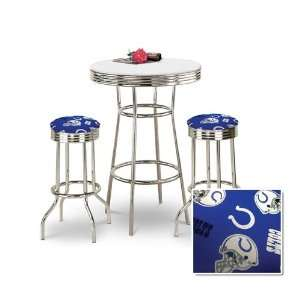 Chrome Bar Table & 2 Chrome Indianapolis Colts NFL Fabric