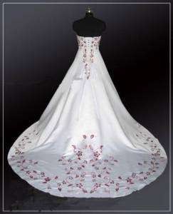 Store White/Red Satin Wedding Dress Size*8 10 12 14 16