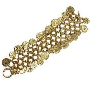 Fashion Link Bracelet ; 7L; Gold Tone Metal; Hammered Circle Charms