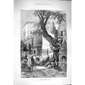 1876 Street Scene Benares Architecture Antique Print
