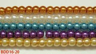 colors Faux Pearl Glass Round Charm Loose Craft Beads BDD16 20