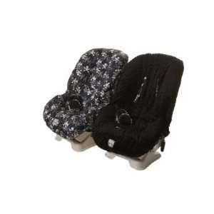 TODDLER CAR SEAT COVER BLACK SKULLS & BLACK MINKY DOT