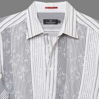 MENS CASUAL SHIRT BLACK WHITE STRIPES EMBROIDERED FLORAL XL