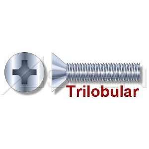 500pcs per box) Trilobular Thread Rolling Screws Flat Head Zinc 1/4