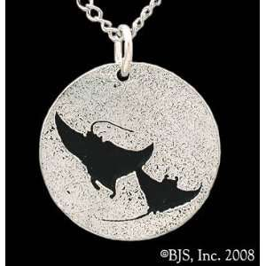 Double Manta Ray Necklace, Sterling Silver, 24 long rhodium plated