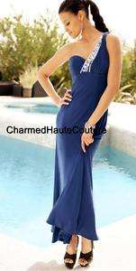 Arden B Blue Embellished One Shoulder Gown Size Large