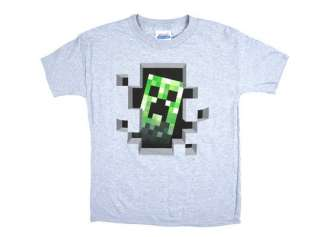 OFFICIAL LICENSED MINECRAFT CREEPER INSIDE GREY YOUTH T SHIRT YOUTH
