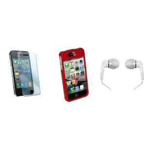 Kit for iPhone 4 w/ Red Rubberized Hard Case & White Earbud Headphones