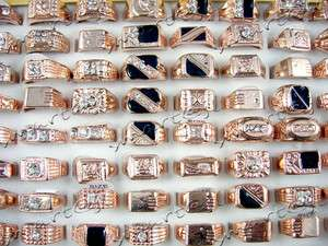 Mixed Lots 50PCS Crystal Rhinestone Rose gold plated Mens Rings SR38