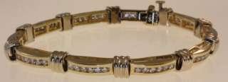 14k yellow white gold 1.80ct diamond tennis bracelet 21g estate