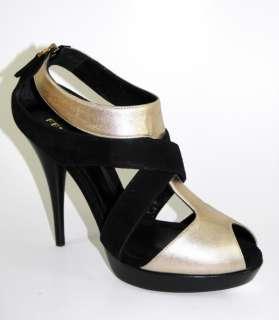 FENDI Black Gold Stappy Platform Sandals Shoes 39 NIB