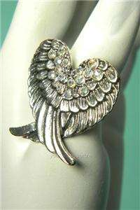 Angel Wing Stretch Adjustable Ring Rhinestone Crystal Free Expedited