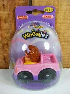 Fisher Price Little People Wheelies Girl & Pink Car New