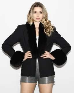 vtg FOX FUR Plush Collar Wool Dress TUXEDO avant garde Bolero blazer