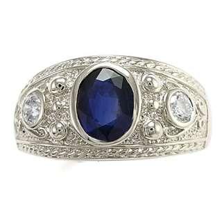 MENS 14K WHITE GOLD GENUINE SAPPHIRE & DIAMOND RING Sizes 7 to 13