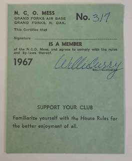 1967 NCO Mess Membership Card, Grand Forks Air Base, ND