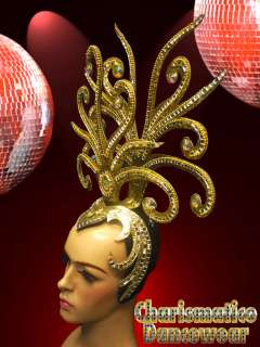 GOLD DIVAS CABARET DRAG QUEEN show girl STUNNING HEADDRESS HEADGEAR