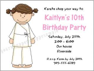 KARATE MARTIAL ARTS Birthday Party Supplies Invitations