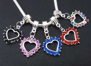 MIX 5pcs Crystal Heart beads Fit charm Bracelet f#1034