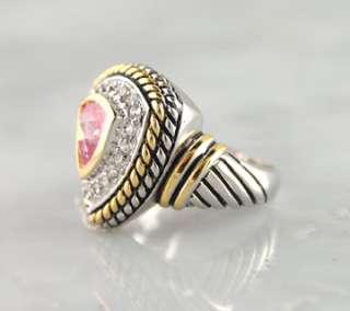 Pink Triangle CZ Brass Ring Rhodium Finish Silver Gold Tone Designer